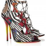 jimmy choo zebra desenli ayakkabı modeli