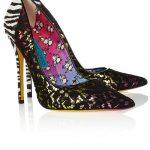 jimmy choo zebra desenli ve dantelli ayakkabı modeli