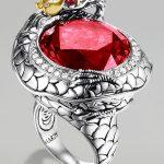 john hardy tasarım kırmızı taşlı yüzük modeli