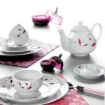 kütahya porselen beyaz desenli kahvaltı takımı