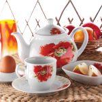 kütahya porselen kırmızı çiçekli kahvaltı takımı