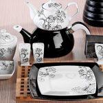 kütahya porselen kare siyah beyaz kahvaltı takımı