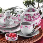 kütahya porselen pembe çiçekli kahvaltı takımı yeni