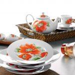kütahya porselen turuncu çiçekli kahvaltı takımı