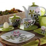 kütahya porselen yeşil çiçekli kahvaltı takımı