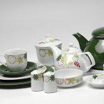 kütahya porselen yeşil beyaz kahvaltı takımı