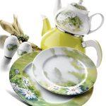 kütahya porselen yeşil papatyalı kahvaltı takımı