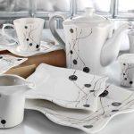 küyahya porselen siyah beyaz köşeli kahvaltı takımı