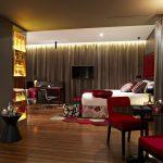 kırmızı bej lüx yatak odası modeli