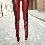 kırmızı dantelli tayt modeli