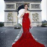 kırmızı işlemeli gece elbisesi modeli