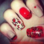 kırmızı leoparlı tırnak süsleme modeli