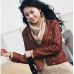 kahve rengi çapraz fermuarlı deri ceket modeli