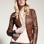 kahve rengi yakasız deri ceket modeli
