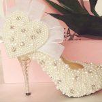 kalpli incili gelinlik ayakkabısı