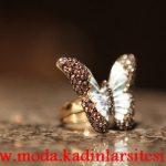 kelebek detaylı yüzük modeli