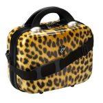 leopar desenli makyaj çantası