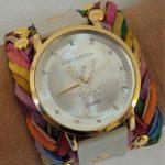 louis vuitton renkli deri kayışlı saat modeli