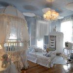 mavi beyaz bebek odası modeli
