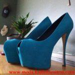 mavi burnu açık ayakkabı modeli