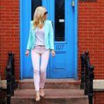 mavi ceket ve pembe pantolon modeli