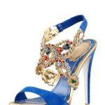 mavi kadife taşlı ayakkabı modeli