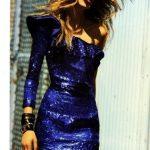 mavi payetli gece elbisesi modeli