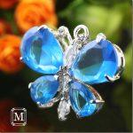 mavi taşlı kelebek figürlü kolye ucu yeni