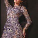 mor taşlı gece elbisesi modeli