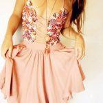 pembe ipli gece elbise modeli