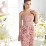 pembe straplez mini gece elbisesi modeli