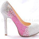 pembe ve beyaz taşlı ayakkabı yeni moda