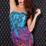 renkli gece elbisesi modeli