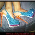 renkli taşlı ayakkabı modeli