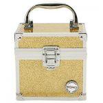 sarı simli makyaj çantası yeni