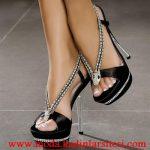 saten taşlı ayakkabı modeli