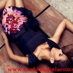 siyah çiçekli mini abiye modeli