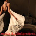 siyah beyaz şifon gece elbisesi modeli