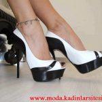 siyah beyaz platformlu ayakkabı modeli