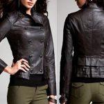 siyah düğmeli deri ceket modeli