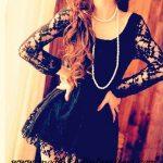 siyah dantel mini gece elbisesi