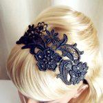 siyah dantel saç bandı modeli