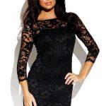 siyah dantelli gece elbisesi