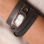 siyah deri ince kayışlı dolamalı kücük kasalı modern şık saat modeli