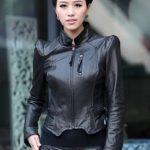 siyah dik omuz deri ceket modeli