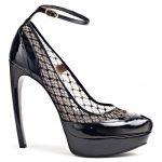 siyah eğik topuk ayakkabı modeli