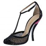siyah eğik topuk burnu açık ayakkabı modeli