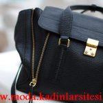 siyah fermuarlı çanta modeli