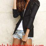 siyah işlemeli ceket modeli