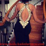 siyah işlemeli gece elbisesi modeli